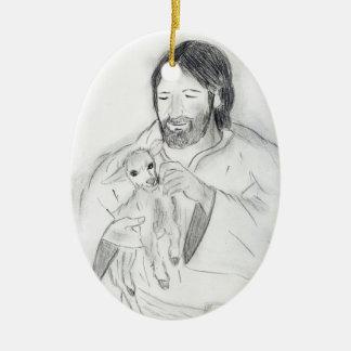 Jesus With Lamb Ceramic Ornament