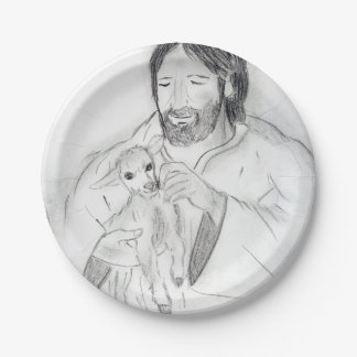 Jesus With Lamb Paper Plate