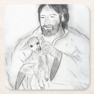 Jesus With Lamb Square Paper Coaster