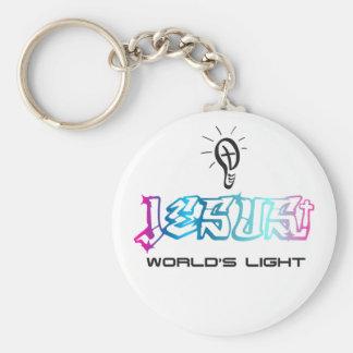 Jesus world's light basic round button key ring