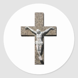 Jesuschrist on a Cross Sculpture Classic Round Sticker