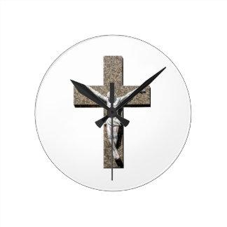 Jesuschrist on a Cross Sculpture Round Clock
