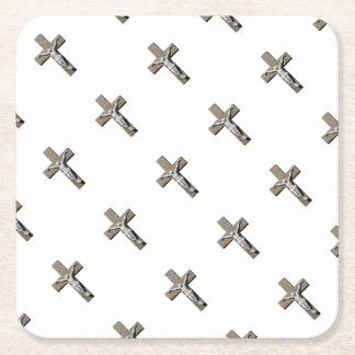 Jesuschrist on a Cross Sculpture Square Paper Coaster