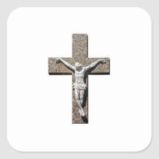 Jesuschrist on a Cross Sculpture Square Sticker