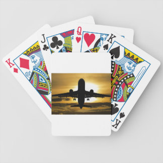 Jet Aircraft Against the Amber Sky Bicycle Playing Cards
