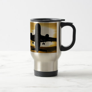 Jet Aircraft Against the Amber Sky Travel Mug