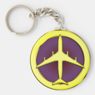 JET AIRLINER BASIC ROUND BUTTON KEY RING