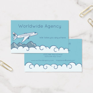 Jet Airplane Clouds and Mountains with Blue Sky Business Card