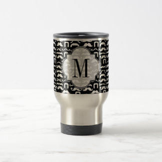 Jet Black and White Mustache Travel Mug