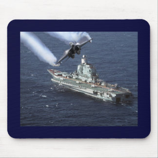 Jet Fighter Over Navy Ship Mouse Pad