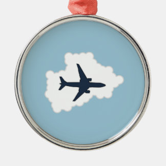 Jet Plane In a Cloud Metal Ornament