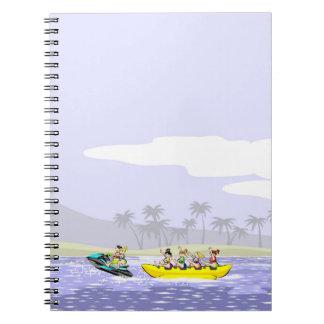 Jet ski and boat banana at maximum speed spiral notebook