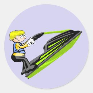 Jet ski fan classic round sticker