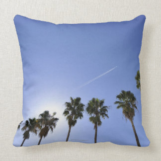 Jet Stream Over Palm trees Cushion