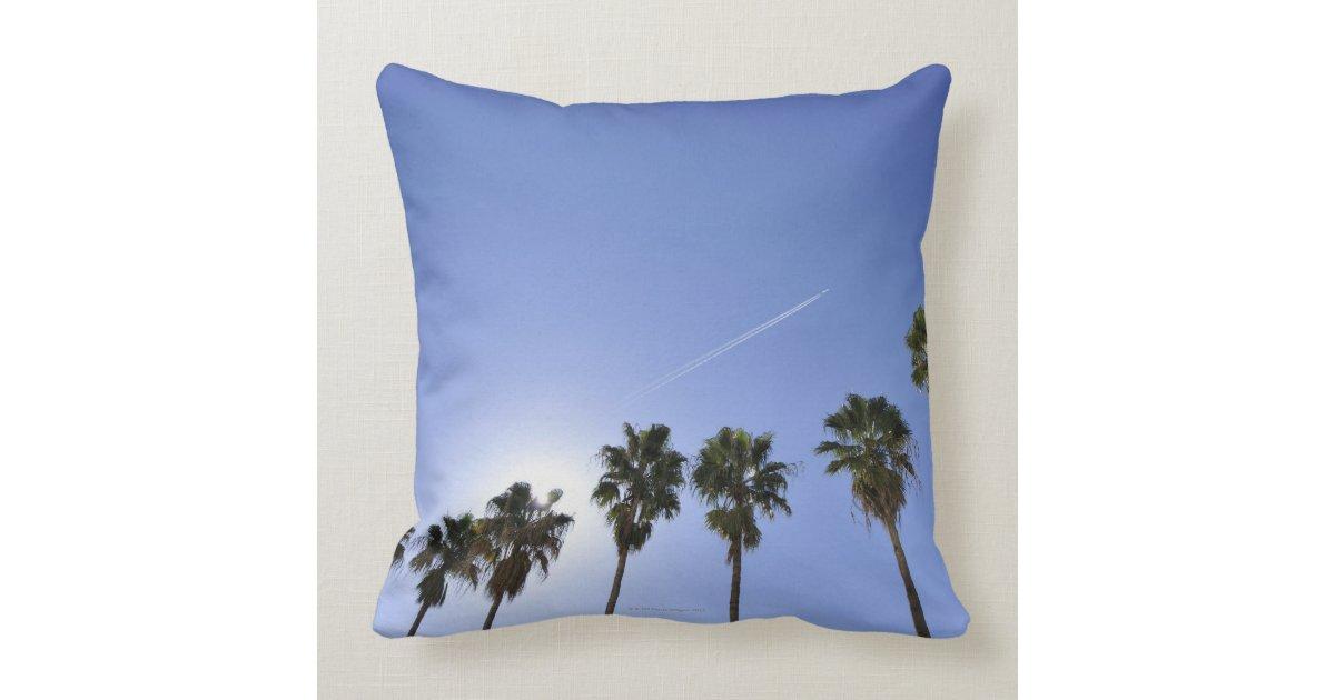 jet stream over palm trees cushions zazzle