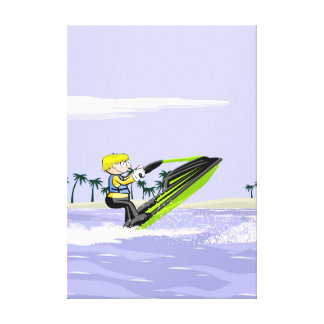 Jet young ski making pirouettes in the water canvas print