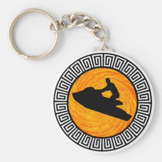 JETSKIING THE KEYS BASIC ROUND BUTTON KEY RING
