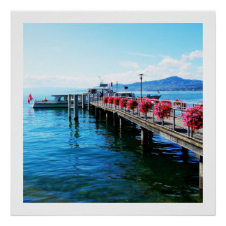 Jetty on Lake Geneva, Switzerland Poster