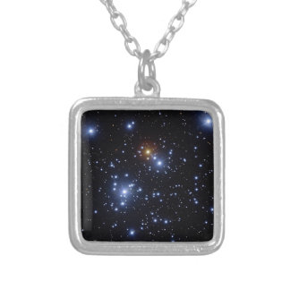 Jewel box cluster silver plated necklace