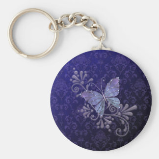 Jewel Butterfly Basic Round Button Key Ring