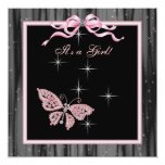 Jewel Butterfly Pink Black Baby Girl Shower Personalised Announcements