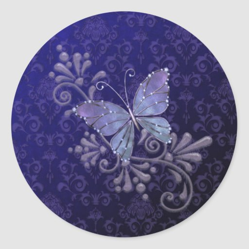 Jewel Butterfly Round Sticker