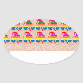 Jewel Colorful n White on Embossed Gold Foil Oval Sticker