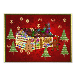 """Jewel-Covered Gingerbread House 5"""" X 7"""" Invitation Card"""