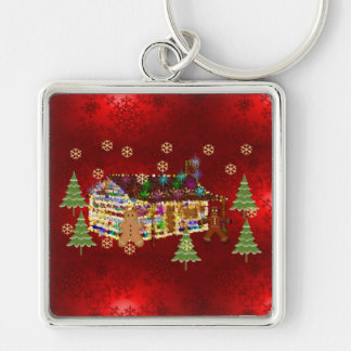 Jewel-Covered Gingerbread House Silver-Colored Square Key Ring