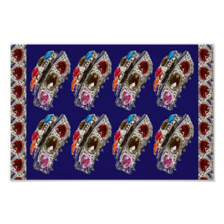 JEWEL crown rubies imitation Hearts ART Collection Poster