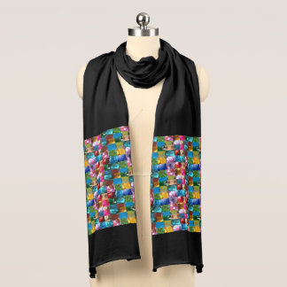 Jewel crystal stone pattern scarf