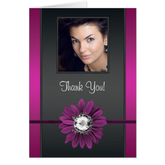 Jewel Daisy Hot Pink Photo Thank You Cards