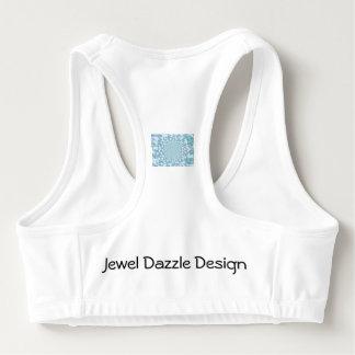 Jewel Dazzle Design Sports Bra Blue on White