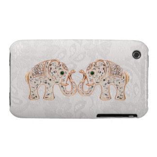 Jewel Elephants Photo Paisley Lace iPhone 3G Case
