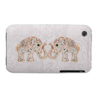 Jewel Elephants Photo Paisley Lace iPhone 3G Case iPhone 3 Cover