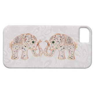 Jewel Elephants Photo & Paisley Lace iPhone 5 Case