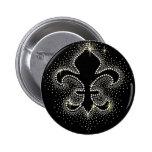 Jewel Fleur De Lis Black Silver Gold Sparkle 6 Cm Round Badge