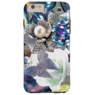 jewel flower butterfly silver collage tough iPhone 6 plus case