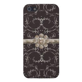 Jewel Look Silver Bling Octagonal Diamond Swirls iPhone 5/5S Covers