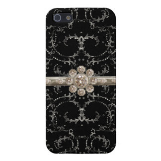 Jewel Look Silver Bling Octagonal Diamond Swirls iPhone 5 Cases