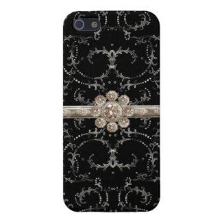 Jewel Look Silver Bling Octagonal Diamond Swirls iPhone 5 Cover