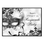 Jewel Mask & Damask Silver Masquerade Sweet 16 11 Cm X 16 Cm Invitation Card