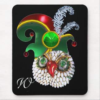 JEWEL OWL, ELF HAT ,SHAMROCK AND DIAMOND FEATHERS MOUSE PAD