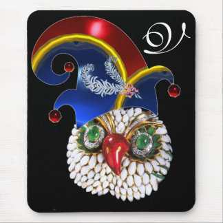 JEWEL OWL , ELF HAT WITH DIAMOND FEATHERS MONOGRAM MOUSE PAD