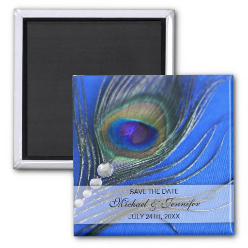 Jewel Peacock Feather Blue Save the Date Fridge Magnet