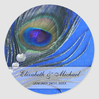 Jewel Peacock Feather Blue Wedding Favor Label Round Sticker