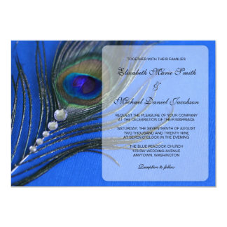 Jewel Peacock Feather Blue Wedding Invitations