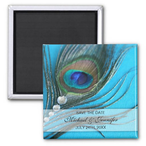 Jewel Peacock Feather Save the Date Magnets