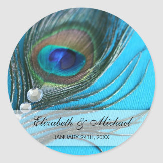Jewel Peacock Feather Wedding Favor Label Round Sticker