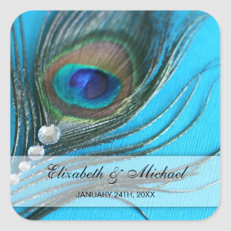 Jewel Peacock Feather Wedding Favor Label Square Sticker